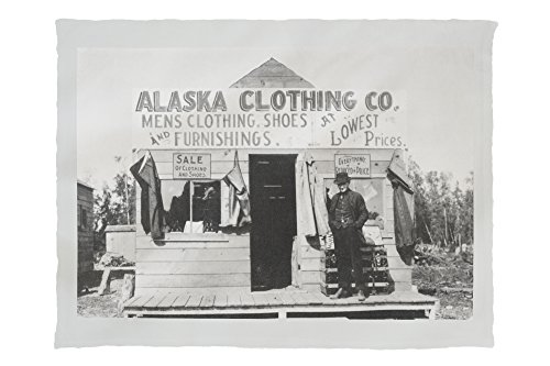 Man in Front of Alaska Clothing Co. in Anchorage Photograph (60x80 Poly Fleece Thick Plush - Anchorage Mens Clothing