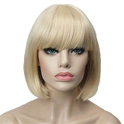 - Aimole Short Straight Bob Wig Cute Flat Bangs Synthetic Full Women Wigs(613-Pale Blonde)