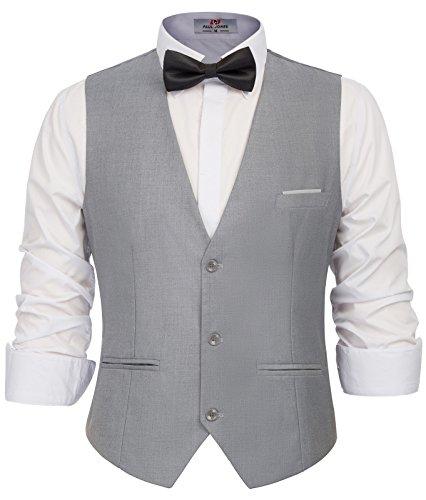 - PAUL JONES Men's Dress Vests Lightweight Waistcoat 3 Button Vest for Wedding