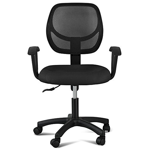 Yaheetech Adjustable Swivel Computer Desk Chair Office Mesh Chair, Max Loading 330lbs, Black by Yaheetech