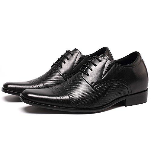 CHAMARIPA Männer Schwarzes Viertel Brogue Derby Kleid Sommer Schuhe mit versteckten Fersen Größer 7cm - 021B02