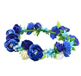 Love Sweety Flower Crown Flower Headband Hair Wreath for Wedding Featival (Royal Blue)