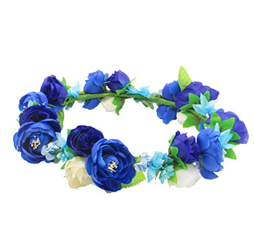 Flower Rose Blue (Love Sweety Flower Crown Flower Headband Hair Wreath for Wedding Featival (Royal Blue))