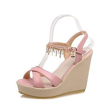 Descubierto Mujer Tacón Cuñastalón Klm Semicuero De Zapatos Cuña gbf67y