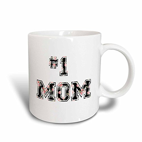 3dRose mug_151620_3 No 1 Mom Number One Mom in Black and Pink Floral Print for Worlds Greatest and Best Mothers Day Magic Transforming Mug, 11-Ounce