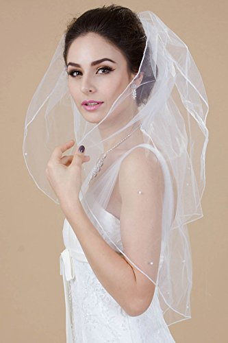 Nero Women's 2 Tiers Elbow Length Bridal Wedding Veil with Pencil Edge, Pearls and Comb (Ivory)