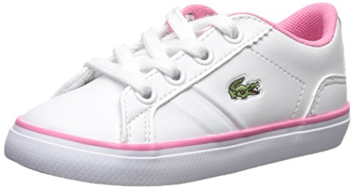 Lacoste Baby Lerond Sneaker, White Pink Leather, 8. M US Infant
