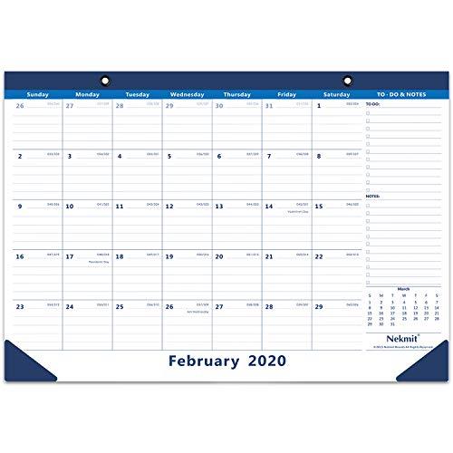 Nekmit 2020 Monthly Desk Pad Calendar, February 2020 - June 2021 Wall Calendar, Ruled Blocks, 16-3/4 x 11-4/5 Inches, Blue