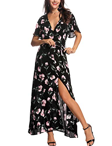 Azalosie Wrap Maxi Dress Floral Short Sleeve Tie Flowy Front Slit Boho Dress Party Wedding Beach Black