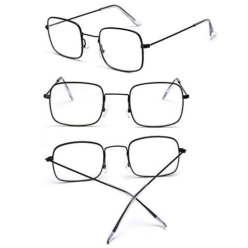Lunettes Unisex de Noir soleil cadre UV400 Classique blanc Femmes BOZEVON lentille Lunettes Rectangulaire 5UY81x