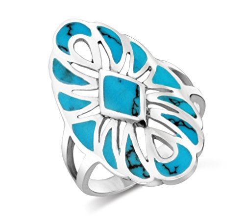 MIMI Sterling Silver Large Southwestern Native American Style Simulated Turquoise Ring (8.5)