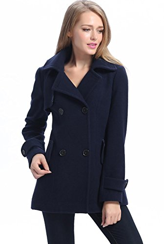 BGSD Women's Piper Wool Blend Pea Coat, Navy, Medium