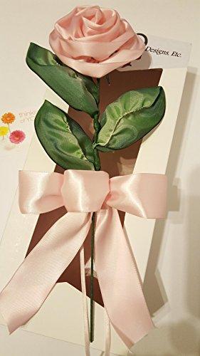 Handmade Pink Ribbon (Handmade Stemmed Pink Satin Ribbon Rose)