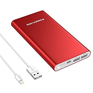 POWERADD Pilot 4GS 12000mAh 8Pin Input Portable Power Bank External Battery Charger with 3A High-Speed Output Compatible with iPhone, iPad, iPod, Samsung and More(MFi 8-Pin Cable Include) - Red