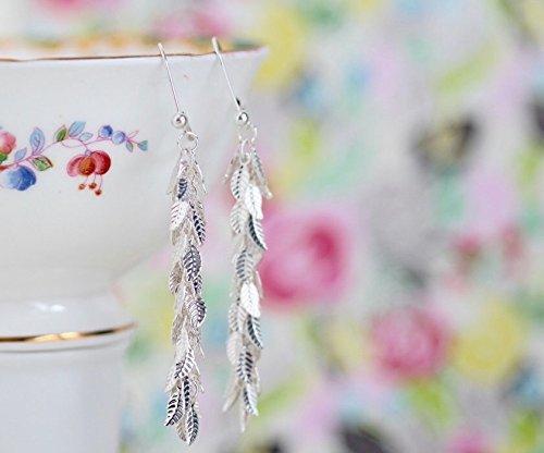 Long Silver Leaf Fringe Dangle Earrings With Sterling Silver Ear Wires