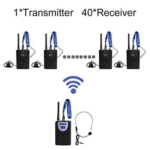 Professional TP-Wireless Tour Guide System for Tour Guiding, Teaching, Travel, Simultaneous Translation,Meeting, Museum Visiting(1 Transmitter and 40 Receivers) by TP-WIRELESS