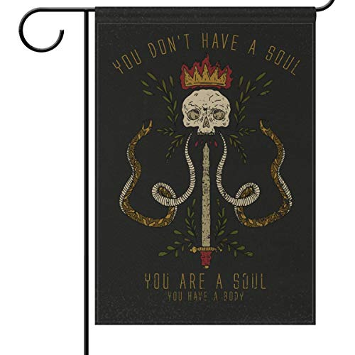Wamika Day of The Dead Garden Flags 12 x 18 Double Sided, You are Soul Slogan Skull Snake Rock Funny Welcome Autumn Fall Halloween Holiday Outdoor Yard House Flag Banner for Party Home Decor]()