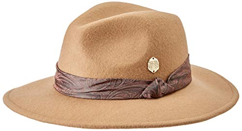 Vince Camuto Women's Paisley Scarf Band Panama Hat, Camel, One Size