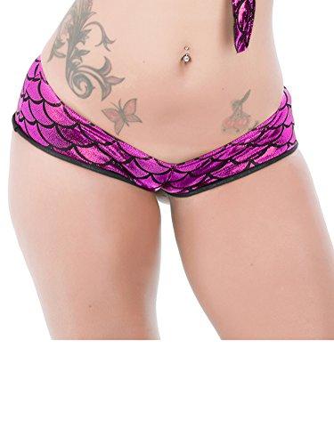Holly Gibbons Women's Shiny Mermaid Fish Scale Hot Pants Stretchy Bodycon Shorts (Booty Shorts Sexy)