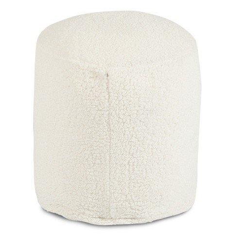 Majestic Home Goods Solid Cream Sherpa Pouf + Expert Guide (Sherpa Guide)
