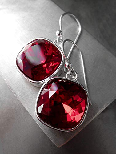 (Dark Red Crystal Earrings with Swarovski Crystal, Silver Plated Bezels - Valentines Day Jewelry)