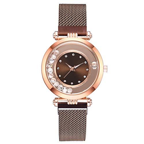 Londony◈ Women's Diamond Shining Bling Starry Sky Magnetic Buckle Bracelet Crystal Magnetic Mesh Belt Quartz Watches