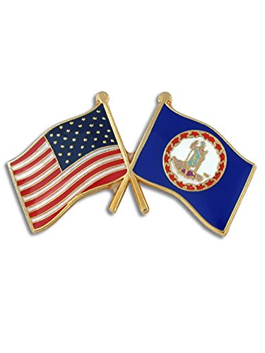 PinMart Virginia and USA Crossed Friendship Flag Enamel Lapel Pin