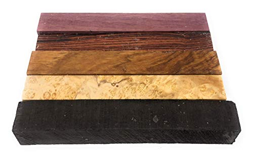 Box Elder Burl - Exotic and Rare Pen Blanks (5 Piece) Box Elder Burl, Olivewood, Kingwood, Ebony and Purple Heart.