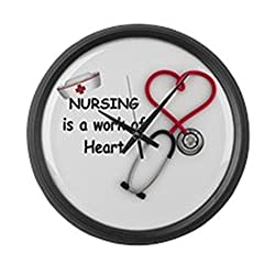 CafePress - Nurses Work Of Heart - Large 17 Round Wall Clock, Unique Decorative Clock