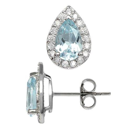 1.94ct. Genuine Pear Shape Blue Topaz 925 Sterling Silver Halo Stud Earrings
