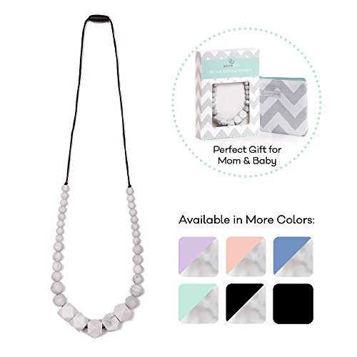 - Goobie Baby Madison Silicone Teething Necklace for Mom to Wear, Safe BPA Free Beads to Chew - Marble