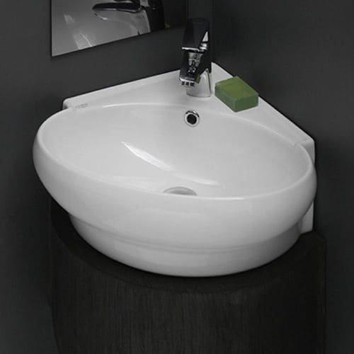 Classic White Corner Sink - CeraStyle 002000-U-One Hole Mini Round Corner Ceramic Wall Mounted/Vessel Sink, White