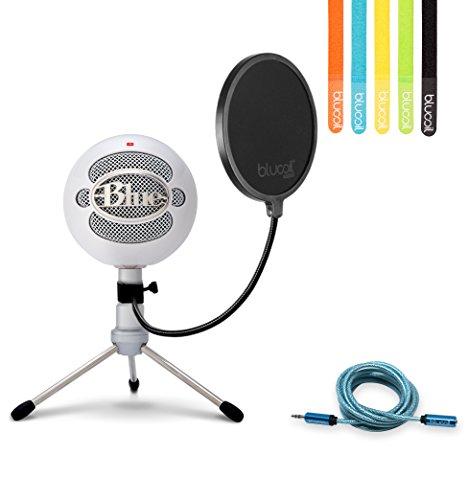 6' Pro Mid Range (Blue Microphones Snowball iCE Cardioid Condenser Microphone (White) -INCLUDES- Blucoil Pop Filter, 6' 3.5mm Headphone Extender AND 5 Pack of Cable Ties)