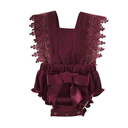 Haokaini – Pasgeboren zomer mouwloos rompertje, Baby Ruffle Jumpsuit Outfits, kanten strik Bodysuits Sunsuits