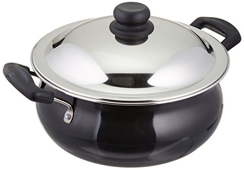 Vinod Pearl Hard Anodised Handi with Stainless Steel Lid, 5 L, Black