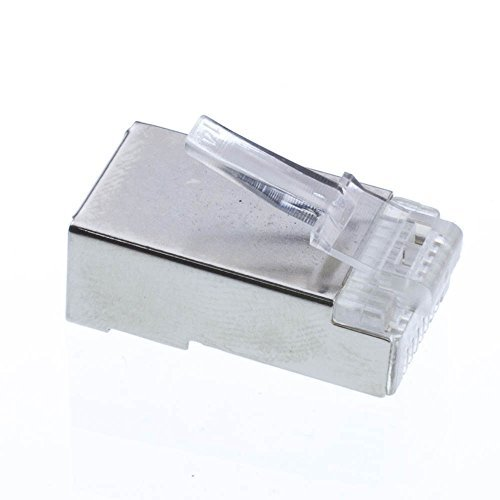 Shielded Cat5e RJ45 Crimp Connectors for Solid and Stranded Cable, 8P8C, 50 Pieces (Cat5 Shielded Terminate)