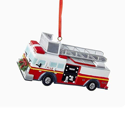 Kurt Adler Fire Truck with Wreath Ornament