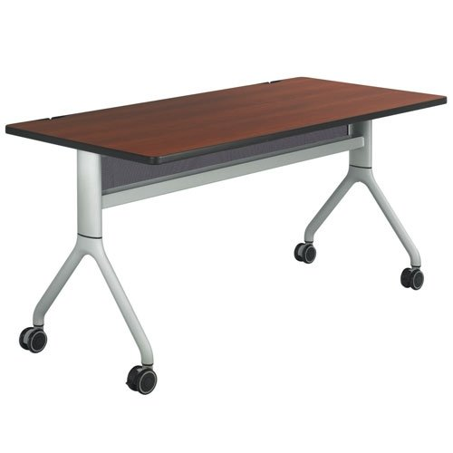 (Safco Rumba Rectangular Nesting Table - 60in. x 30in., Cherry/Silver, Model# 2036CYSL)