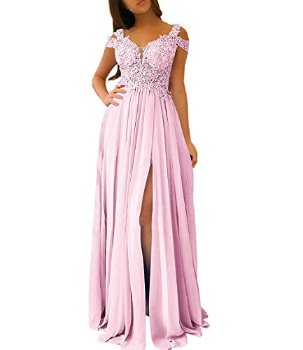 WHZZ Women's Cap Sleeves Appliques Long Prom Dresses with Slit A-line Evening Gowns Pink 8