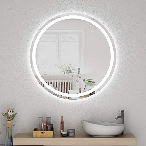 Honyee Round LED Mirror 28 Inch Diameter, Morden Circular Lighted Wall Mounted -