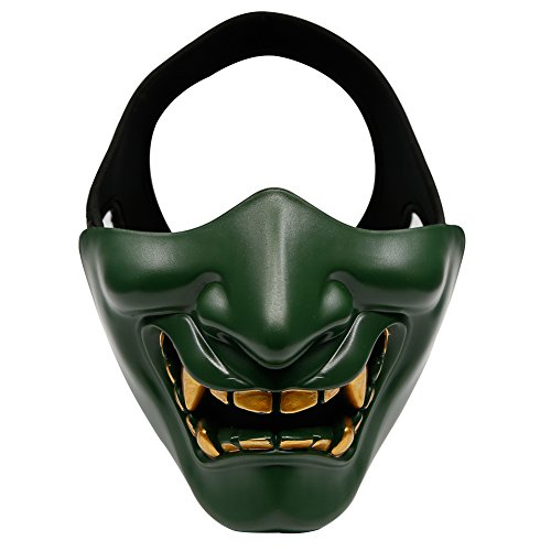 Aoutacc Airsoft Half Face Masks, Evil Demon Monster Kabuki Samurai Hannya Oni Half Face Protective Masks Masquerade Ball, Party, Halloween, Cs War Game, BB Gun(Green) ()