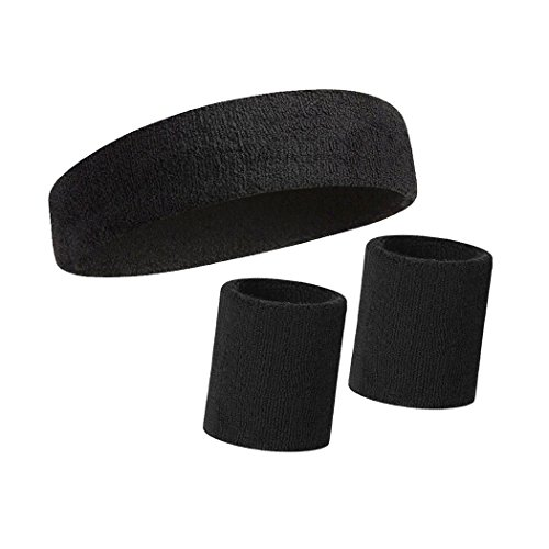 HOTER Thick Solid Color Sweatband Set (1 Headband + 2 Wristbands)