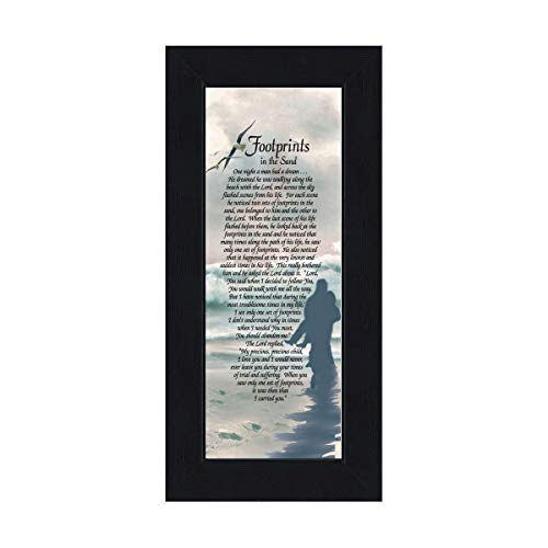 Frames of Mind Footprints in the Sand, Footprints In the Sand Wall Art, Footprints Poem, 6x12 - Footprints Plaque
