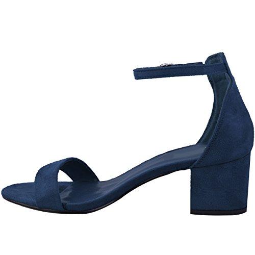 Faux Larges Foncé Bleu Talons Suède Style et Bleu Marine Bas Bride à Sandales habillé Femme Cheville ZvqEw4q7
