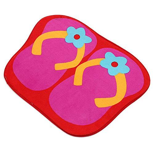 (Carpet Floor Mats - Carpet Door Mat - 41x58cm Anti Slip Flip Flops Shape Lint Ground Mat Absorbent Bathroom Floor Door Carpet - Rose Red (Flip Flop)