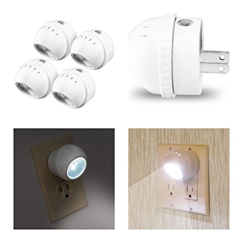 Pack of 4 Paradisiac Popular LED Nightlight Rotates 360 Degrees Auto Sensor Photocell Color White with US Plug