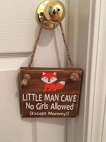 Little Man Cave No Girls Allowed TM Orange Fox Door Sign (No Children Allowed Sign)