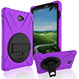 Samsung Galaxy Tab A 10.1 Case, Best Rugged Full-Body Protective Case Three Layers Hybrid Armor Shockproof Cover for Samsung Tablet 10.1 inch SM-T580/T585-Kids Students (Purple)