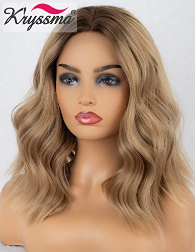 Dirty Blond Wig (K'ryssma Ash Blonde Lace Front Wig Ombre with Dark Roots Bob Synthetic Wig Short Wavy Dirty Blonde Wigs for)