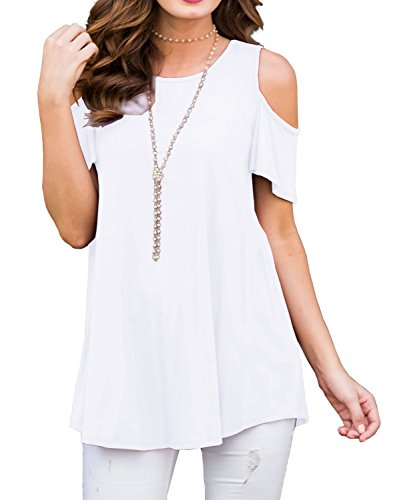 (PrinStory Women's Short Sleeve Casual Cold Shoulder Tunic Tops Loose Blouse Shirts White-XL)